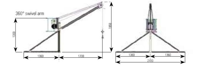 GUINCHE PLUMA IORI MONOF. GM 500 KG 40MTS CABLE